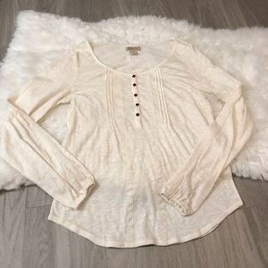 Lucky Brand Long Sleeve Cream Lace Detail Shirt XS